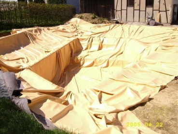 teichfolie sand 1mm 11 x 12 meter teichbau baumaterial f r den teichbau. Black Bedroom Furniture Sets. Home Design Ideas